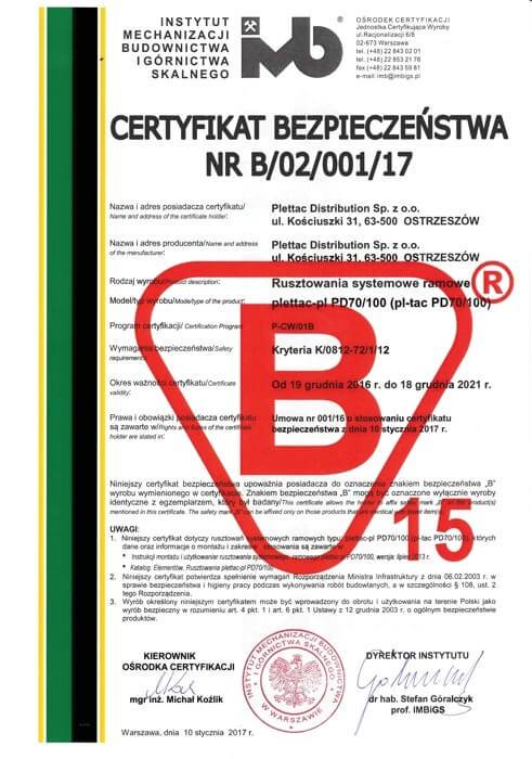 plettac distribution - certyfikat bezpieczeństwa