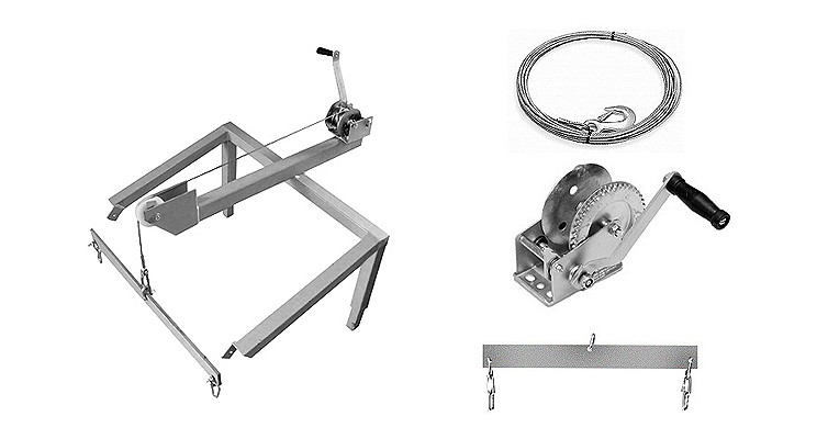 plettac distribution - Mounting stand with winch, steel rope and dragline